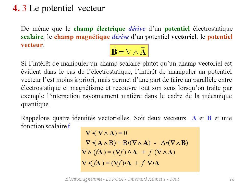 Electromagnétisme - L2 PCGI - Université Rennes 1 - 200516 ( A) = 0 4. 3 Le potentiel vecteur De même que le champ électrique dérive dun potentiel éle