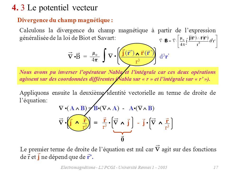 Electromagnétisme - L2 PCGI - Université Rennes 1 - 200517 4. 3 Le potentiel vecteur Divergence du champ magnétique : Calculons la divergence du champ