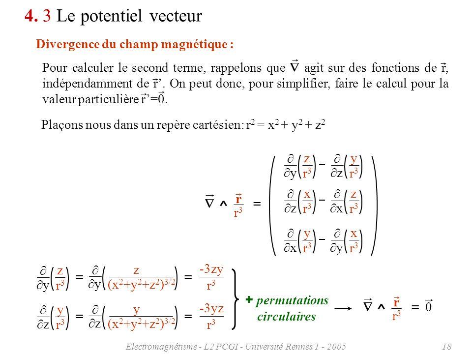 Electromagnétisme - L2 PCGI - Université Rennes 1 - 200518 4. 3 Le potentiel vecteur Divergence du champ magnétique : Plaçons nous dans un repère cart