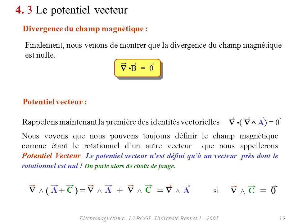 Electromagnétisme - L2 PCGI - Université Rennes 1 - 200519 4. 3 Le potentiel vecteur Divergence du champ magnétique : Finalement, nous venons de montr