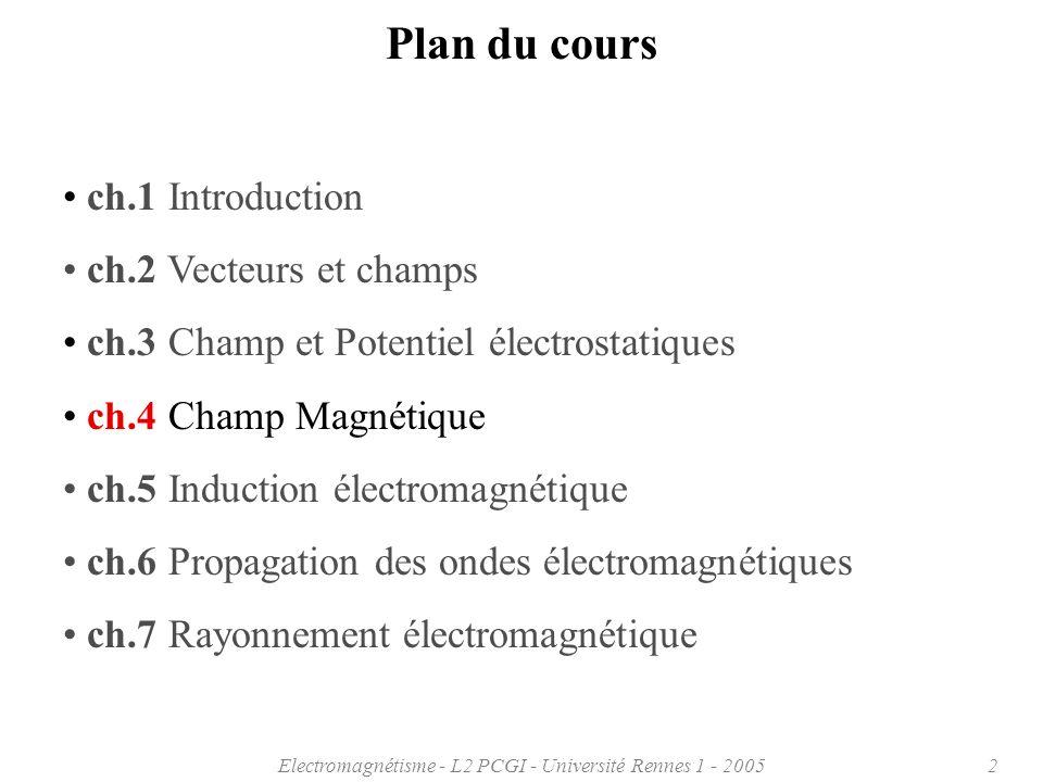 Electromagnétisme - L2 PCGI - Université Rennes 1 - 200513 = B o sin 3 ( ) Spire circulaire: calcul sur laxe de symétrie 4.1 Champ magnétique, loi de Biot et Savart 4 r 2 o I 2 a B z = cos( ) B z = 2(a 2 + z 2 ) 3/2 o I a 2 Par symétrie, B x = B y = 0 4 r 2 o I dl dB z = cos( ) Projection sur direction z Au centre de la spire: B o = 2a o I x y z I a dB z dBdB r
