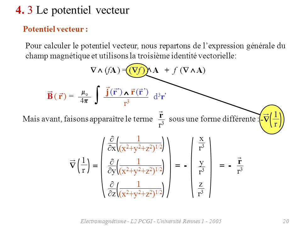 Electromagnétisme - L2 PCGI - Université Rennes 1 - 200520 4. 3 Le potentiel vecteur Potentiel vecteur : Pour calculer le potentiel vecteur, nous repa