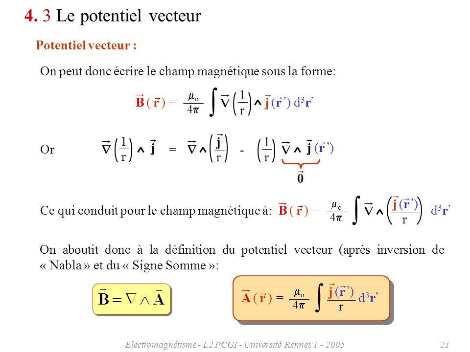 Electromagnétisme - L2 PCGI - Université Rennes 1 - 200521 4. 3 Le potentiel vecteur Potentiel vecteur : On peut donc écrire le champ magnétique sous