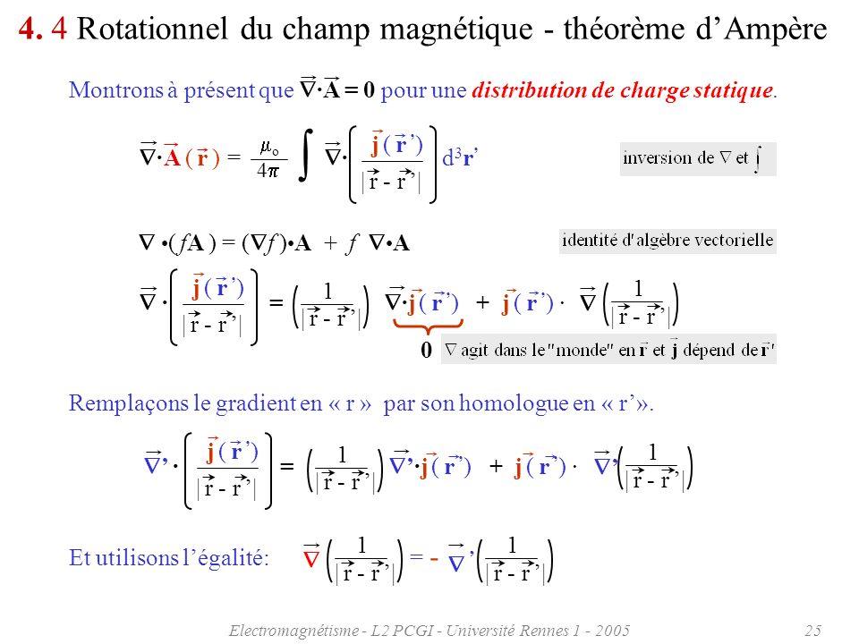 Electromagnétisme - L2 PCGI - Université Rennes 1 - 200525 4. 4 Rotationnel du champ magnétique - théorème dAmpère Montrons à présent que ·A = 0 pour