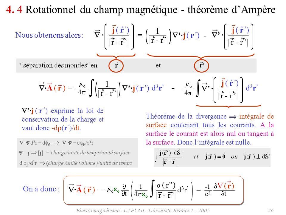 Electromagnétisme - L2 PCGI - Université Rennes 1 - 200526 4. 4 Rotationnel du champ magnétique - théorème dAmpère Nous obtenons alors: · | r - r | j