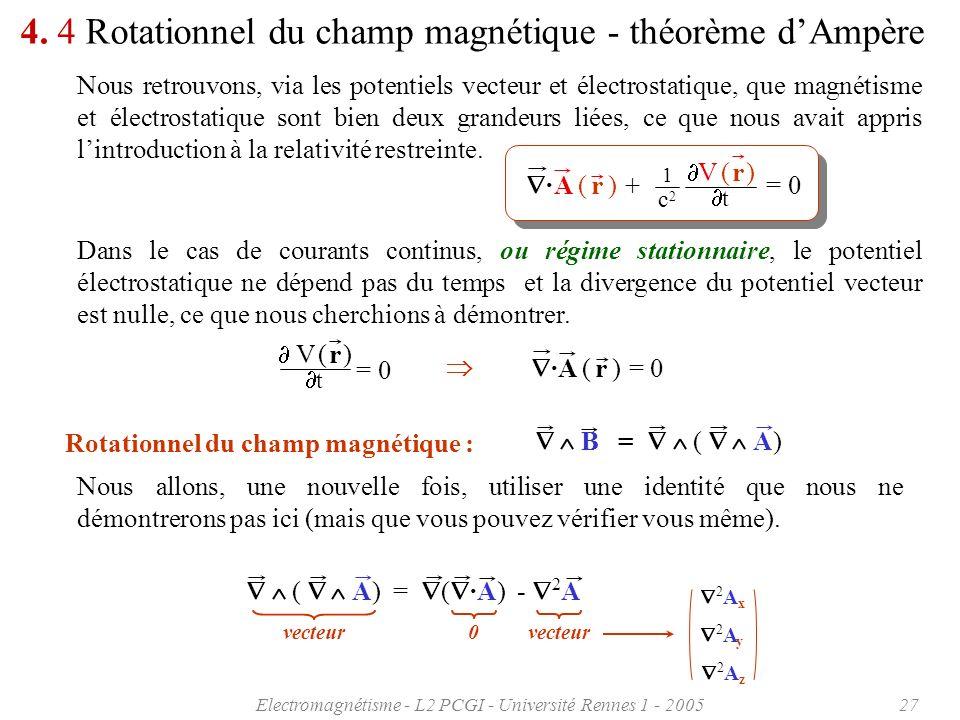 Electromagnétisme - L2 PCGI - Université Rennes 1 - 200527 A ( r ) + = 0 · c2c2 1 V ( r ) t 4. 4 Rotationnel du champ magnétique - théorème dAmpère No