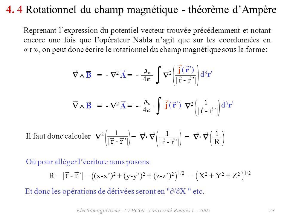 Electromagnétisme - L2 PCGI - Université Rennes 1 - 200528 4. 4 Rotationnel du champ magnétique - théorème dAmpère Reprenant lexpression du potentiel