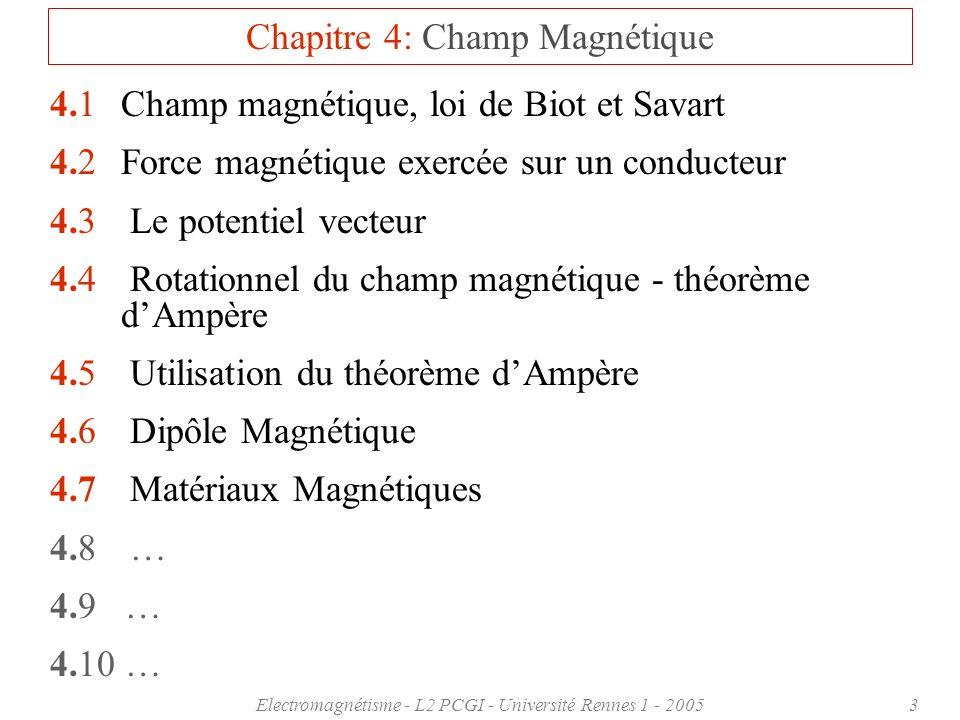 Electromagnétisme - L2 PCGI - Université Rennes 1 - 200534 4.5 Utilisation du théorème dAmpère Long cylindre conducteur : Soit un long cylindre conducteur parcouru par un courant I o de densité homogène j sur toute la section du cylindre de rayon R : I o = R 2 j I(r) = r 2 j Pour un cylindre de rayon r R : 2 r B = o I(r) B(r R ) = o I o r 2 R 2 Pour un cylindre de rayon r R : I(r) = R 2 j = I o 2 r B = o I o B(r R ) = o I o 2 r Symétrie axiale B ne dépend que de r !!.