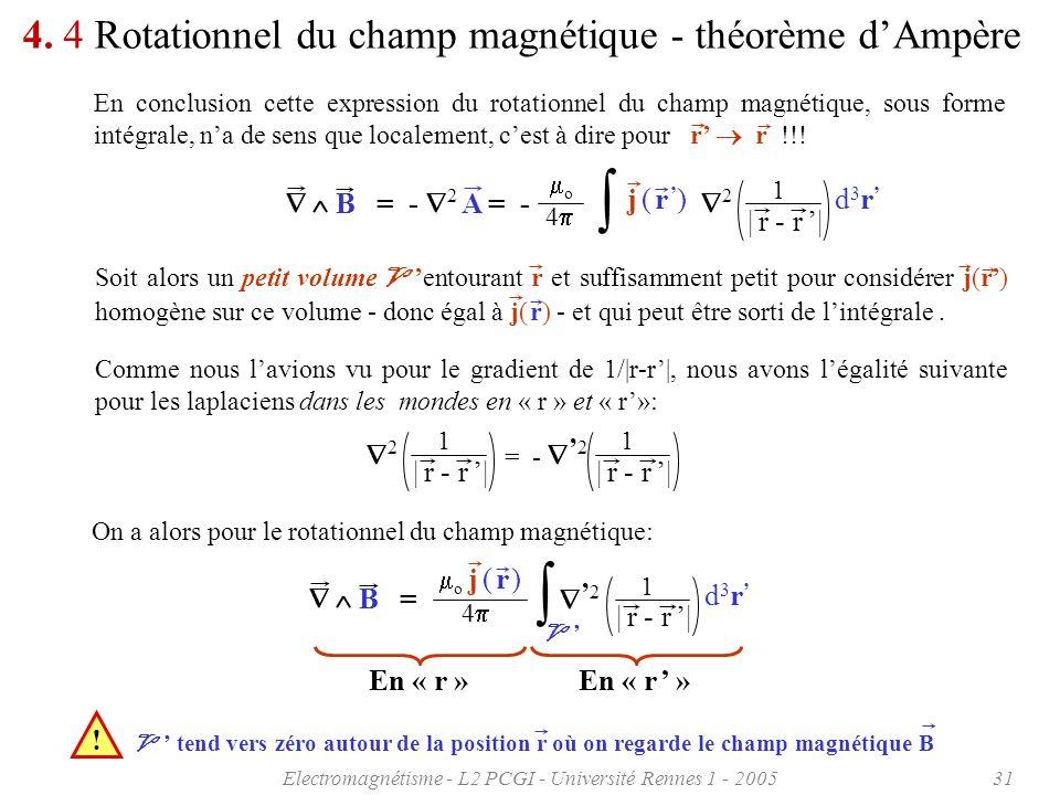 Electromagnétisme - L2 PCGI - Université Rennes 1 - 200531 4. 4 Rotationnel du champ magnétique - théorème dAmpère En conclusion cette expression du r