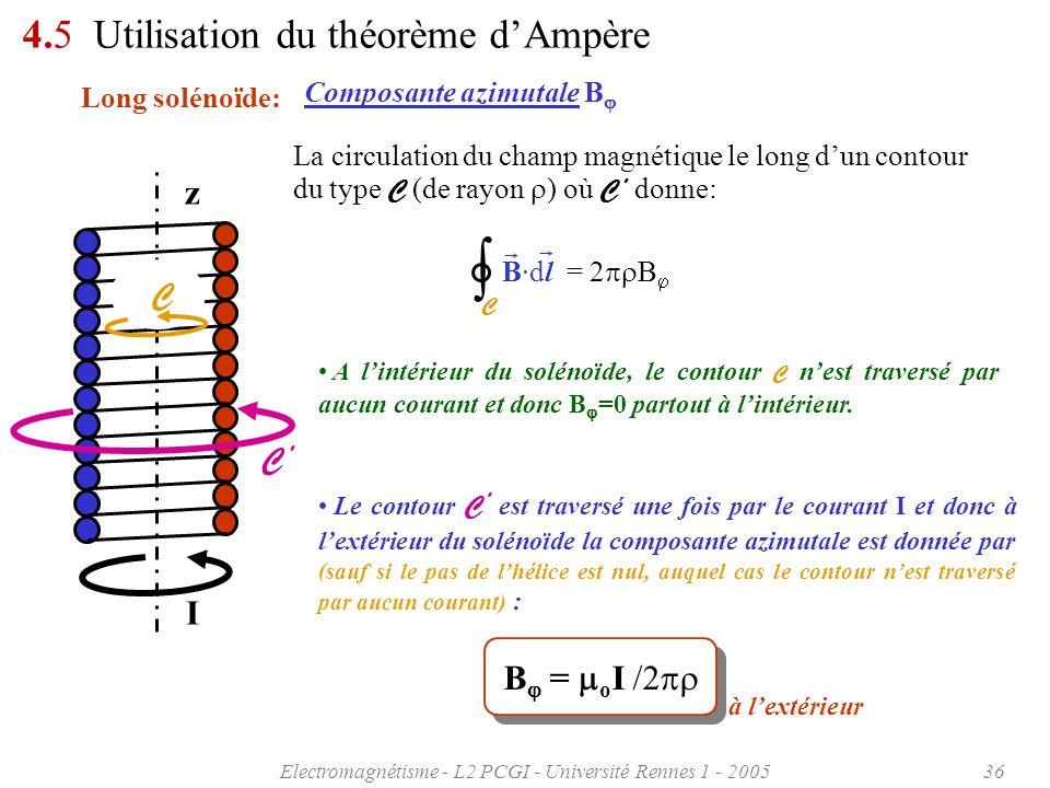 Electromagnétisme - L2 PCGI - Université Rennes 1 - 200536 I z 4.5 Utilisation du théorème dAmpère Long solénoïde: Le contour C est traversé une fois