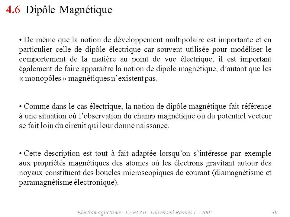 Electromagnétisme - L2 PCGI - Université Rennes 1 - 200539 4.6 Dipôle Magnétique De même que la notion de développement multipolaire est importante et