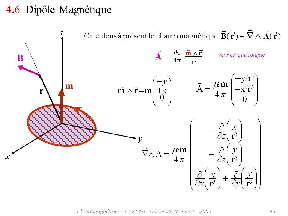 Electromagnétisme - L2 PCGI - Université Rennes 1 - 200543 4.6 Dipôle Magnétique r3r3 A =A = 4 o m r Calculons à présent le champ magnétique: B( r ) =