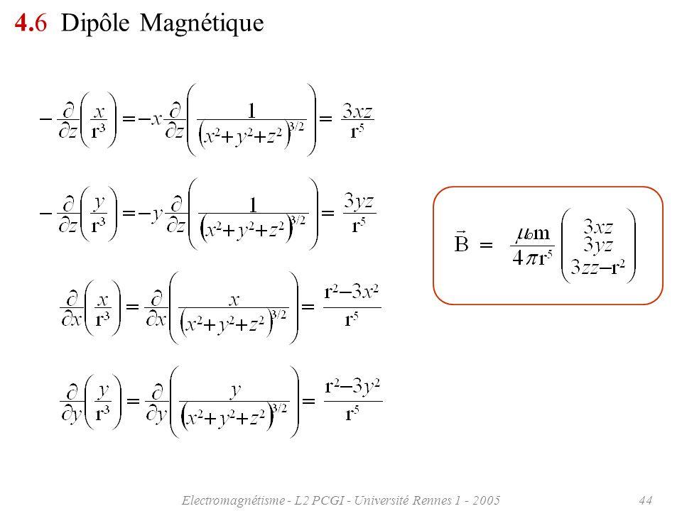 Electromagnétisme - L2 PCGI - Université Rennes 1 - 200544 4.6 Dipôle Magnétique