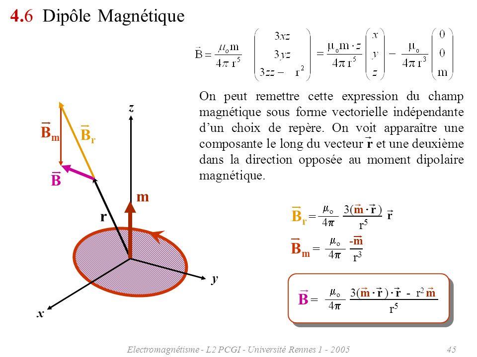 Electromagnétisme - L2 PCGI - Université Rennes 1 - 200545 z x y r m 4.6 Dipôle Magnétique On peut remettre cette expression du champ magnétique sous