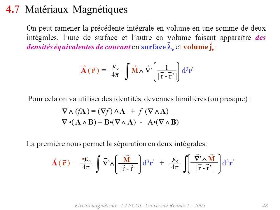 Electromagnétisme - L2 PCGI - Université Rennes 1 - 200548 4.7 Matériaux Magnétiques ( A B) = B ( A) - A ( B) (fA ) = ( f ) A + f ( A) Pour cela on va
