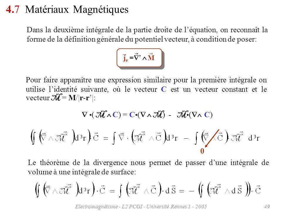 Electromagnétisme - L2 PCGI - Université Rennes 1 - 200549 4.7 Matériaux Magnétiques Dans la deuxième intégrale de la partie droite de léquation, on r