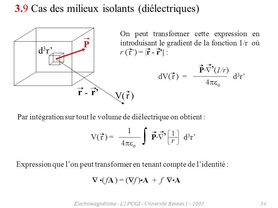 Electromagnétisme - L2 PCGI - Université Rennes 1 - 200554 dV( r ) = d 3 r P· (1/r) 4 o 3.9 Cas des milieux isolants (diélectriques) On peut transform