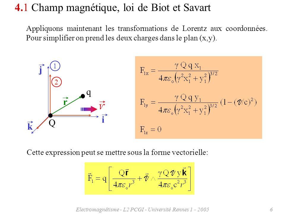 Electromagnétisme - L2 PCGI - Université Rennes 1 - 20057 1 V k 4.1 Champ magnétique, loi de Biot et Savart Nous pouvons donc résumer ainsi les conséquences de la relativité restreinte: La force exercée par une particule chargée sur une autre particule, perçue par un observateur dans un repère fixe - alors que les deux charges sont au repos dans un deuxième repère mobile animé dune vitesse de translation V – ne peut plus sexprimer simplement par une force radiale.
