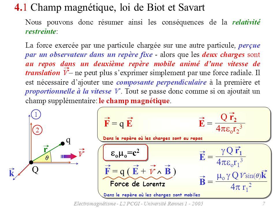Electromagnétisme - L2 PCGI - Université Rennes 1 - 200548 4.7 Matériaux Magnétiques ( A B) = B ( A) - A ( B) (fA ) = ( f ) A + f ( A) Pour cela on va utiliser des identités, devenues familières (ou presque) : A ( r ) = d 3 r + d 3 r 4 - o   r - r    r - r   M 4 o   r - r    r - r   M La première nous permet la séparation en deux intégrales: A ( r ) = d 3 r 4 o M   r - r    r - r   1 On peut ramener la précédente intégrale en volume en une somme de deux intégrales, lune de surface et lautre en volume faisant apparaître des densités équivalentes de courant en surface e et volume j e :