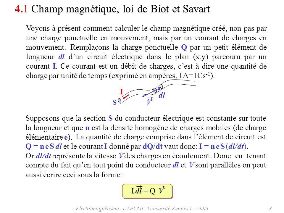 Electromagnétisme - L2 PCGI - Université Rennes 1 - 20059 4.1 Champ magnétique, loi de Biot et Savart La vitesse des électrons dans les bons conducteurs électriques peut atteindre plusieurs milliers de kilomètres par seconde, mais reste néanmoins très petite devant la vitesse de la lumière.
