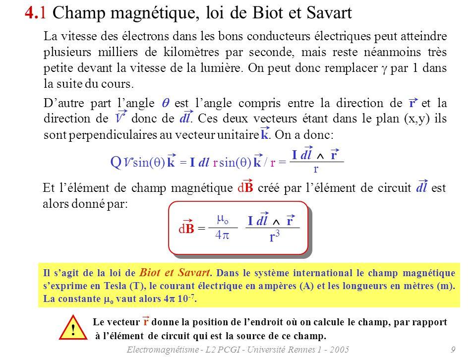 Electromagnétisme - L2 PCGI - Université Rennes 1 - 20059 4.1 Champ magnétique, loi de Biot et Savart La vitesse des électrons dans les bons conducteu