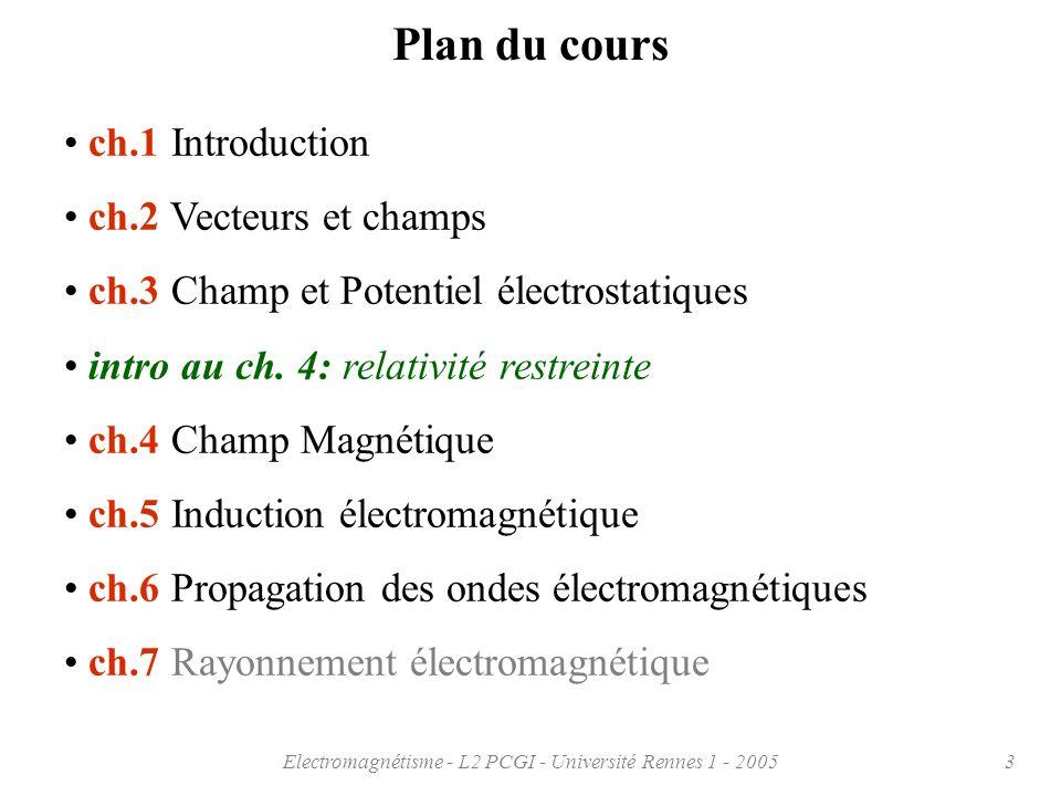 Electromagnétisme - L2 PCGI - Université Rennes 1 - 20053 Plan du cours ch.1 Introduction ch.2 Vecteurs et champs ch.3 Champ et Potentiel électrostati