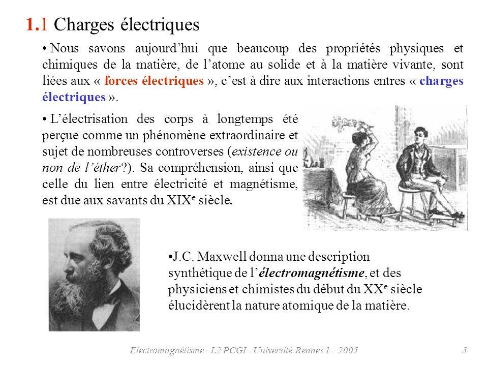 Electromagnétisme - L2 PCGI - Université Rennes 1 - 20055 1.1 Charges électriques Nous savons aujourdhui que beaucoup des propriétés physiques et chim