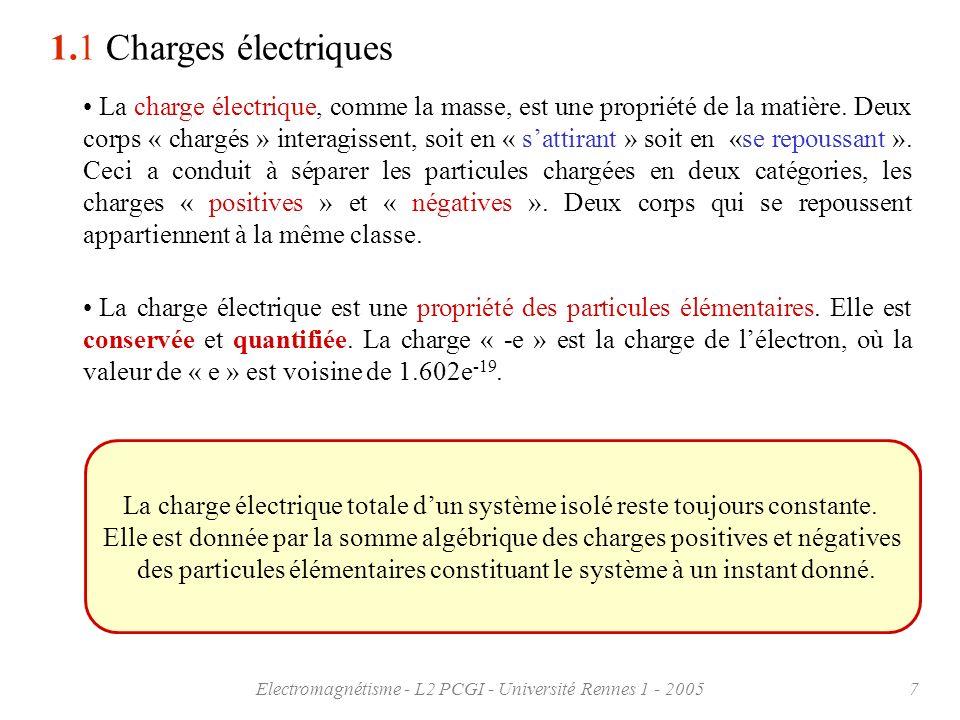 Electromagnétisme - L2 PCGI - Université Rennes 1 - 20057 La charge électrique, comme la masse, est une propriété de la matière. Deux corps « chargés