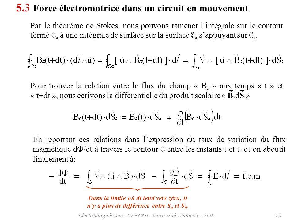 Electromagnétisme - L2 PCGI - Université Rennes 1 - 200516 5.3 Force électromotrice dans un circuit en mouvement Par le théorème de Stokes, nous pouvons ramener lintégrale sur le contour fermé C a à une intégrale de surface sur la surface S a sappuyant sur C a.