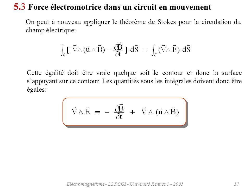 Electromagnétisme - L2 PCGI - Université Rennes 1 - 200517 5.3 Force électromotrice dans un circuit en mouvement On peut à nouveau appliquer le théorème de Stokes pour la circulation du champ électrique: Cette égalité doit être vraie quelque soit le contour et donc la surface sappuyant sur ce contour.