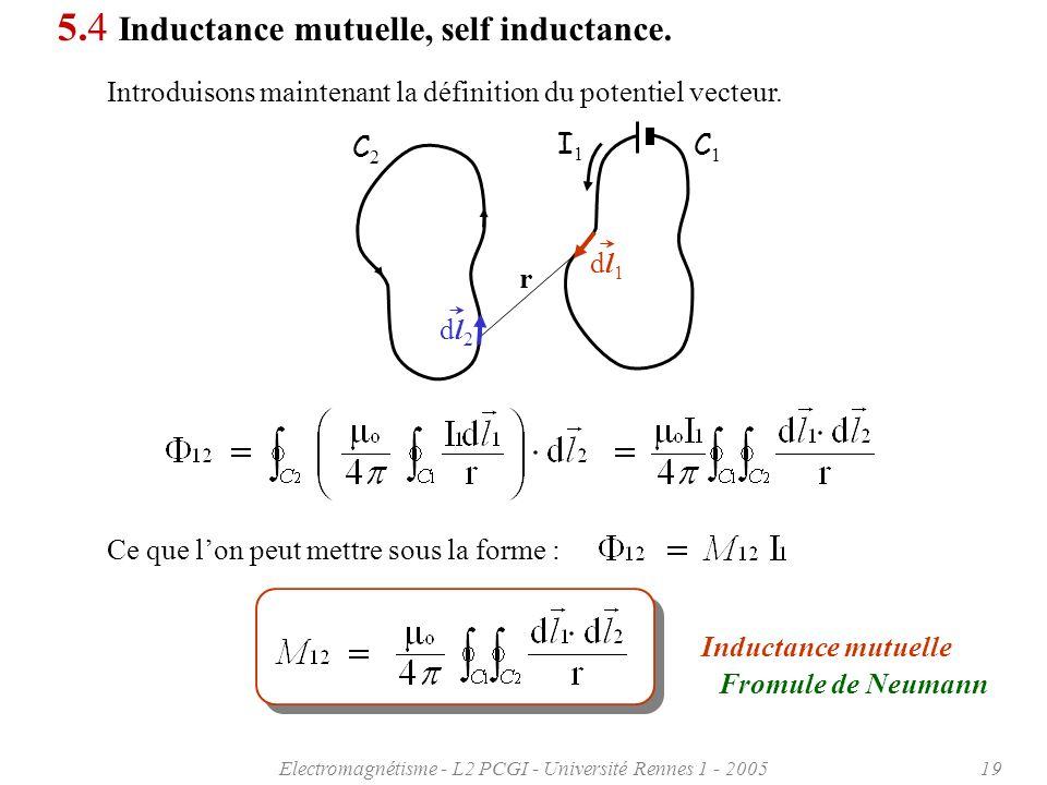 Electromagnétisme - L2 PCGI - Université Rennes 1 - 200519 5.4 Inductance mutuelle, self inductance.