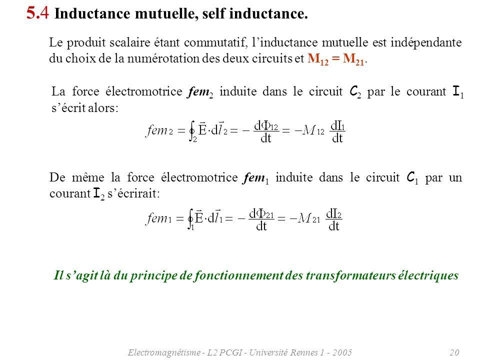 Electromagnétisme - L2 PCGI - Université Rennes 1 - 200520 5.4 Inductance mutuelle, self inductance.