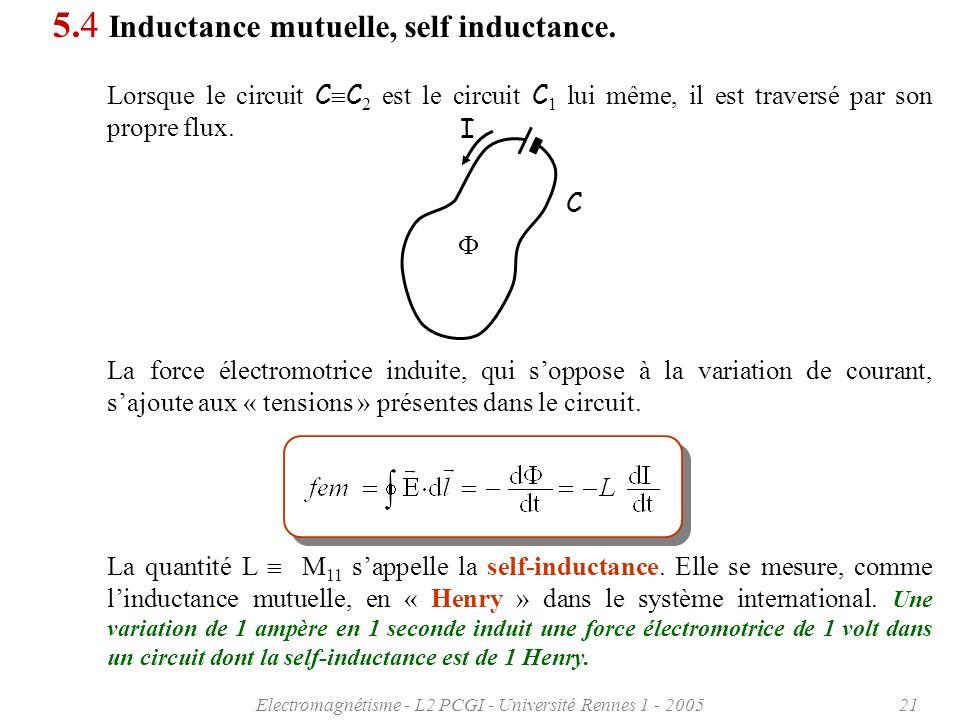 Electromagnétisme - L2 PCGI - Université Rennes 1 - 200521 5.4 Inductance mutuelle, self inductance.