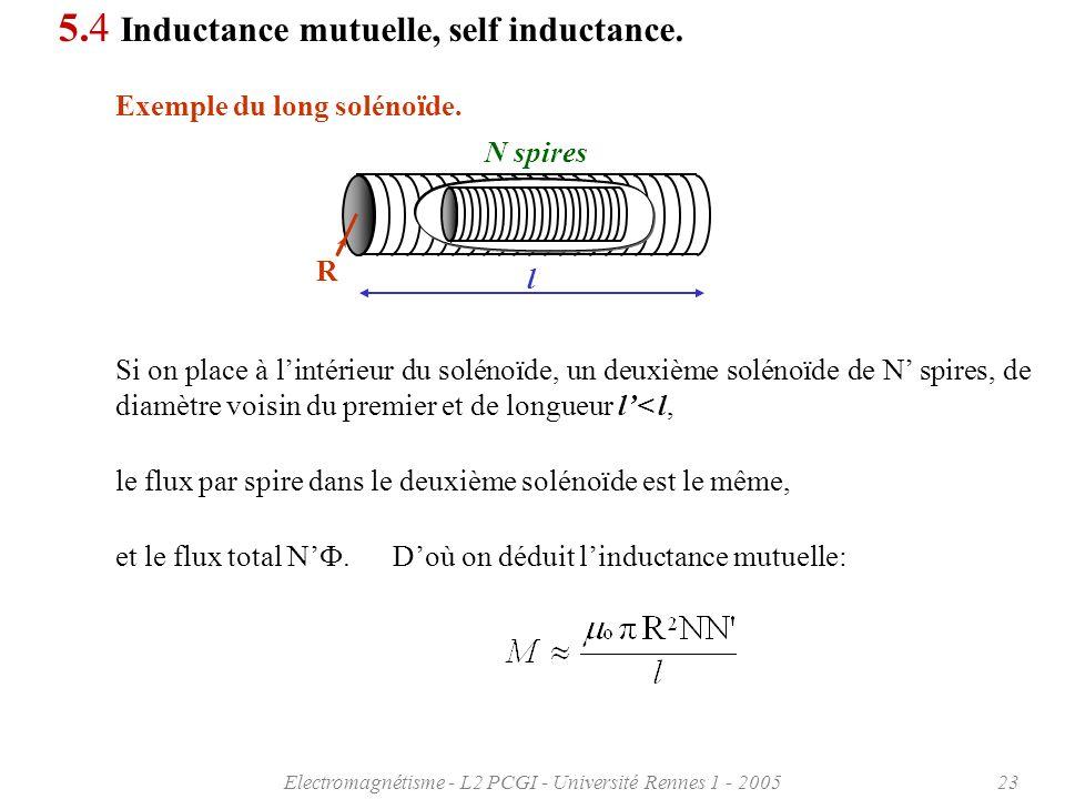 Electromagnétisme - L2 PCGI - Université Rennes 1 - 200523 5.4 Inductance mutuelle, self inductance.