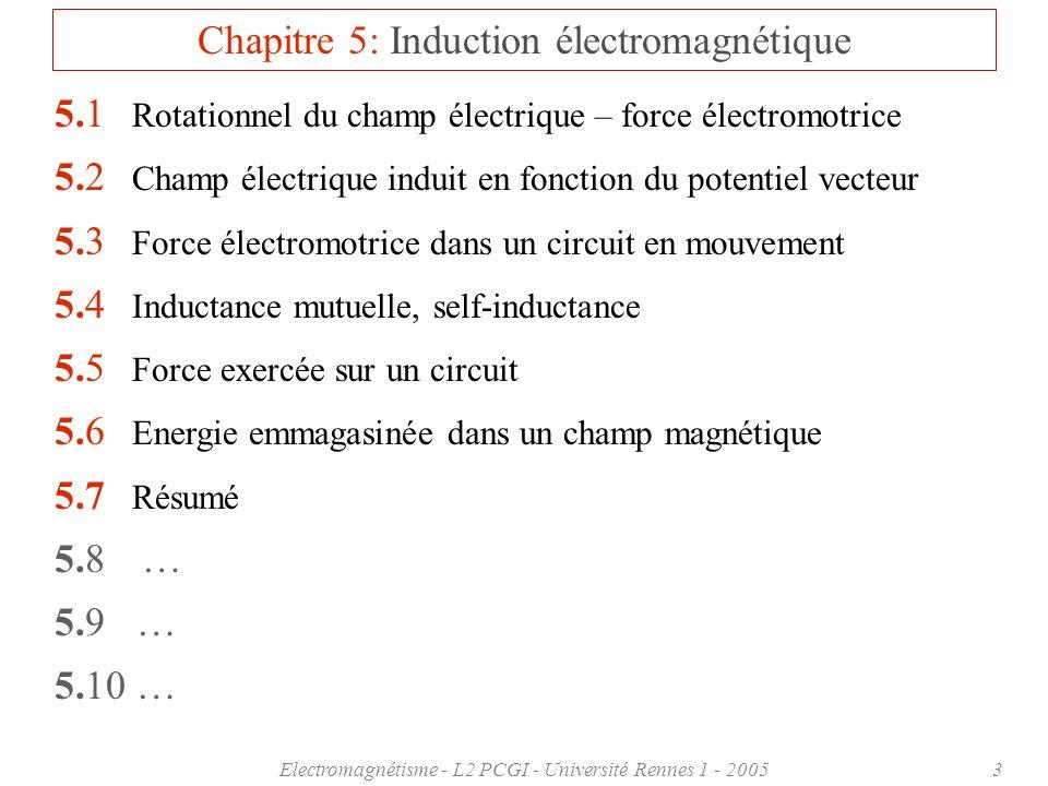 Electromagnétisme - L2 PCGI - Université Rennes 1 - 20053 Chapitre 5: Induction électromagnétique 5.1 Rotationnel du champ électrique – force électromotrice 5.2 Champ électrique induit en fonction du potentiel vecteur 5.3 Force électromotrice dans un circuit en mouvement 5.4 Inductance mutuelle, self-inductance 5.5 Force exercée sur un circuit 5.6 Energie emmagasinée dans un champ magnétique 5.7 Résumé 5.8 … 5.9 … 5.10 …