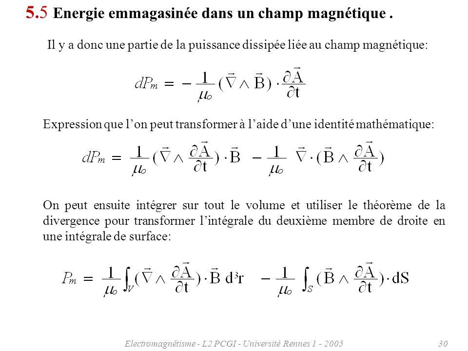 Electromagnétisme - L2 PCGI - Université Rennes 1 - 200530 5.5 Energie emmagasinée dans un champ magnétique.