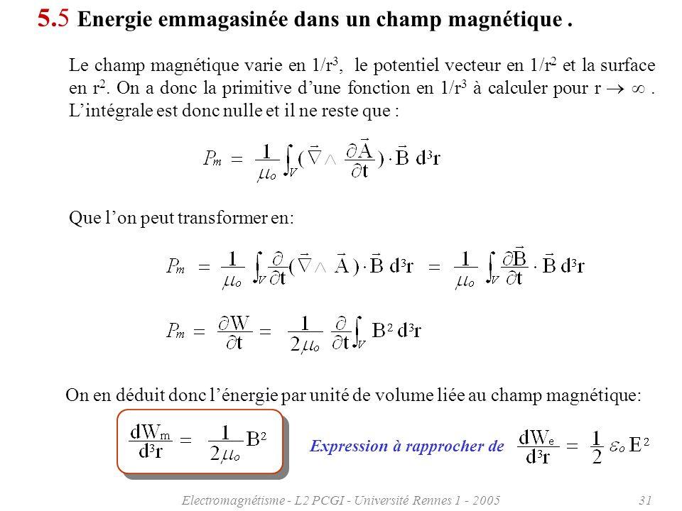 Electromagnétisme - L2 PCGI - Université Rennes 1 - 200531 5.5 Energie emmagasinée dans un champ magnétique.