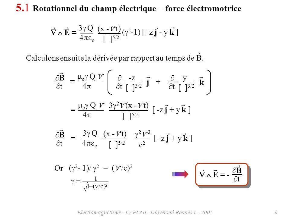 Electromagnétisme - L2 PCGI - Université Rennes 1 - 20056 Calculons ensuite la dérivée par rapport au temps de B.