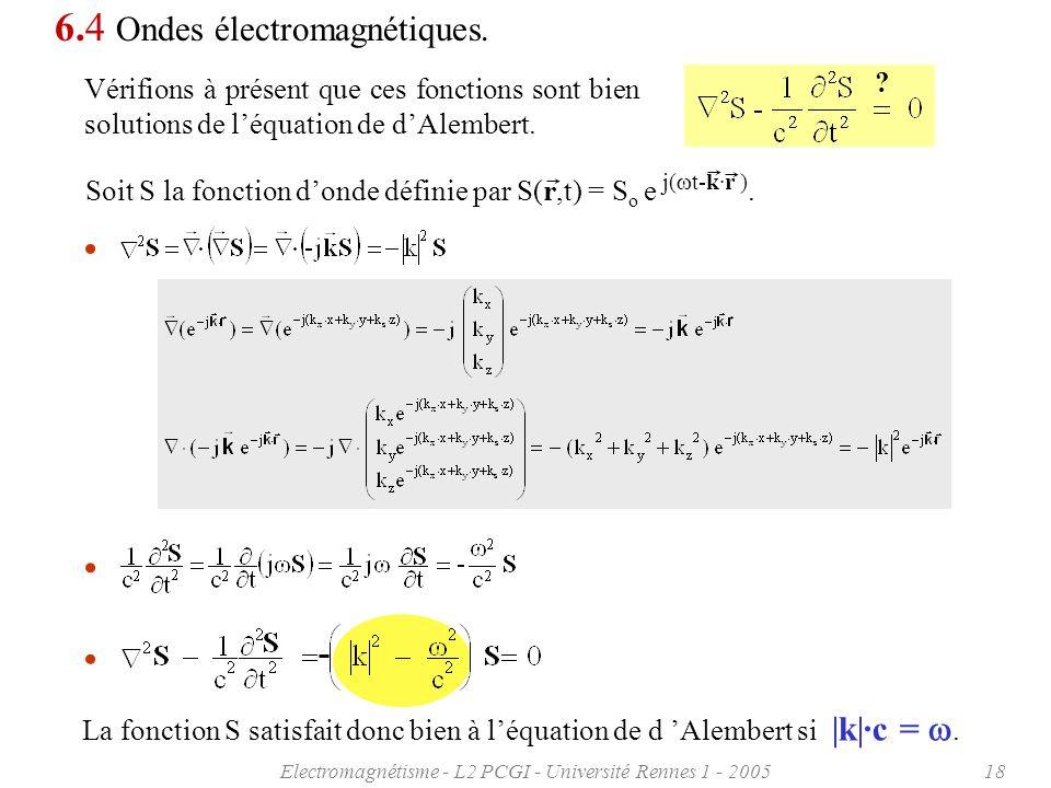 Electromagnétisme - L2 PCGI - Université Rennes 1 - 200518 Soit S la fonction donde définie par S(r,t) = S o e j( t-k·r ). La fonction S satisfait don