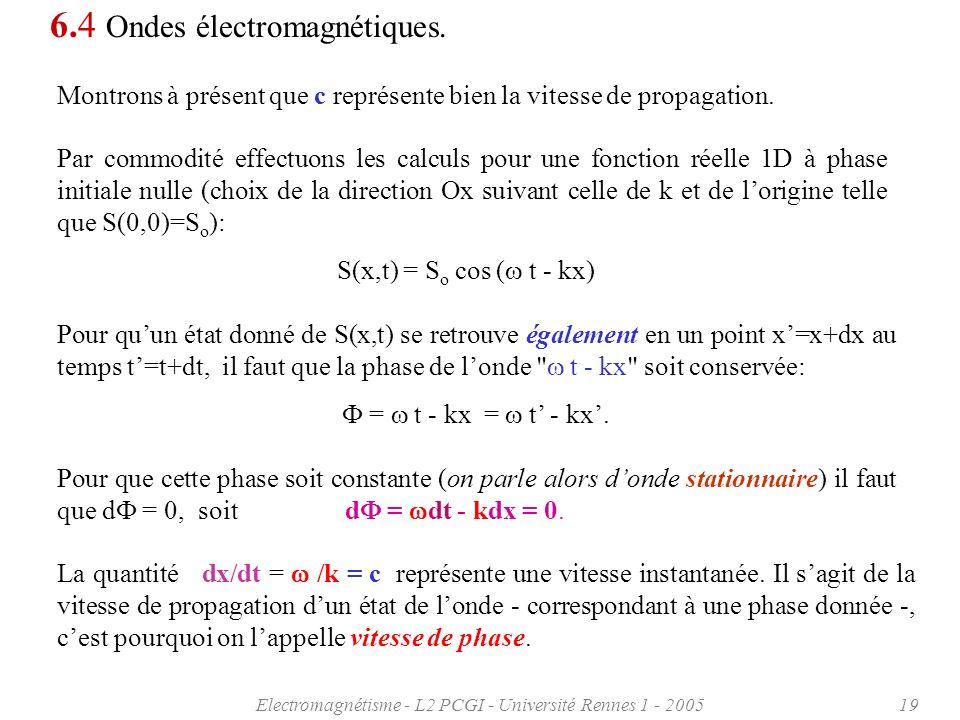 Electromagnétisme - L2 PCGI - Université Rennes 1 - 200519 Par commodité effectuons les calculs pour une fonction réelle 1D à phase initiale nulle (ch