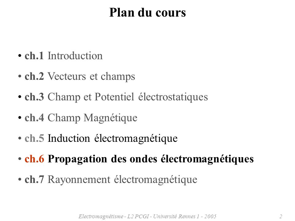 Electromagnétisme - L2 PCGI - Université Rennes 1 - 20053 Chapitre 6: Propagation des ondes électromagnétiques 6.1 Introduction 6.2 Equations de Maxwell 6.3 Equations de propagation dans le vide 6.4 Ondes électromagnétiques 6.5 Energie transportée par une onde électromagnétique 6.6 Réflexion - Réfraction aux interfaces 6.7… 6.8 … 6.9 … 6.10 …