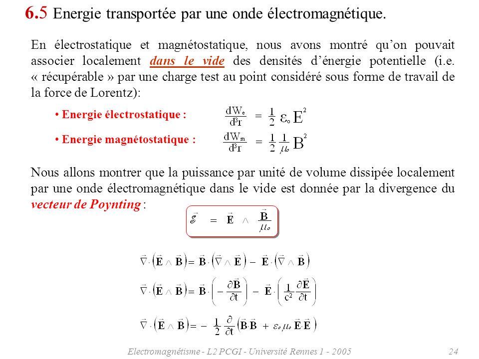 Electromagnétisme - L2 PCGI - Université Rennes 1 - 200524 6.5 Energie transportée par une onde électromagnétique. En électrostatique et magnétostatiq