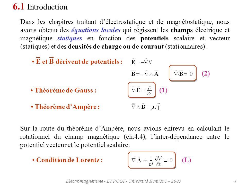 Electromagnétisme - L2 PCGI - Université Rennes 1 - 20055 6.1 Introduction Enfin en abordant linduction électromagnétique nous avons trouvé une première relation locale liant les comportements dynamiques des champs électrique et magnétique: Rappelons également quil existe une relation de conservation reliant les densités de courant et de charge.