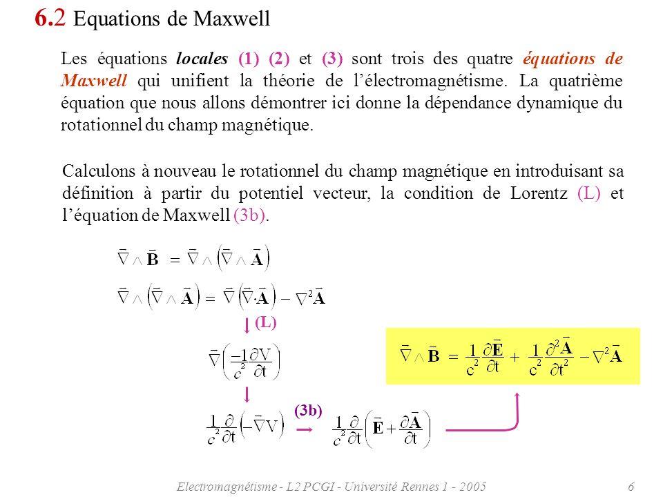 Electromagnétisme - L2 PCGI - Université Rennes 1 - 200517 Un nombre complexe Z peut sécrire de deux façons: Ainsi une fonction donde réelle sécrira S ( r, t) = S o cos ( t - k·r + ) e o Soit en coordonnées cartésiennes: S x ( x,y,z, t) = S o cos ( t – [k x x+k y y+k z z] + ) e ox S y ( x,y,z, t) = S o cos ( t – [k x x+k y y+k z z] + ) e oy S z ( x,y,z, t) = S o cos ( t – [k x x+k y y+k z z] + ) e oz Par exemple pour une onde de pulsation polarisée suivant la direction Oy et se propageant à la vitesse c = /k dans la direction Ox on écrira: S y ( x, t) = S o cos ( t – kx + ) 6.4 Ondes électromagnétiques.