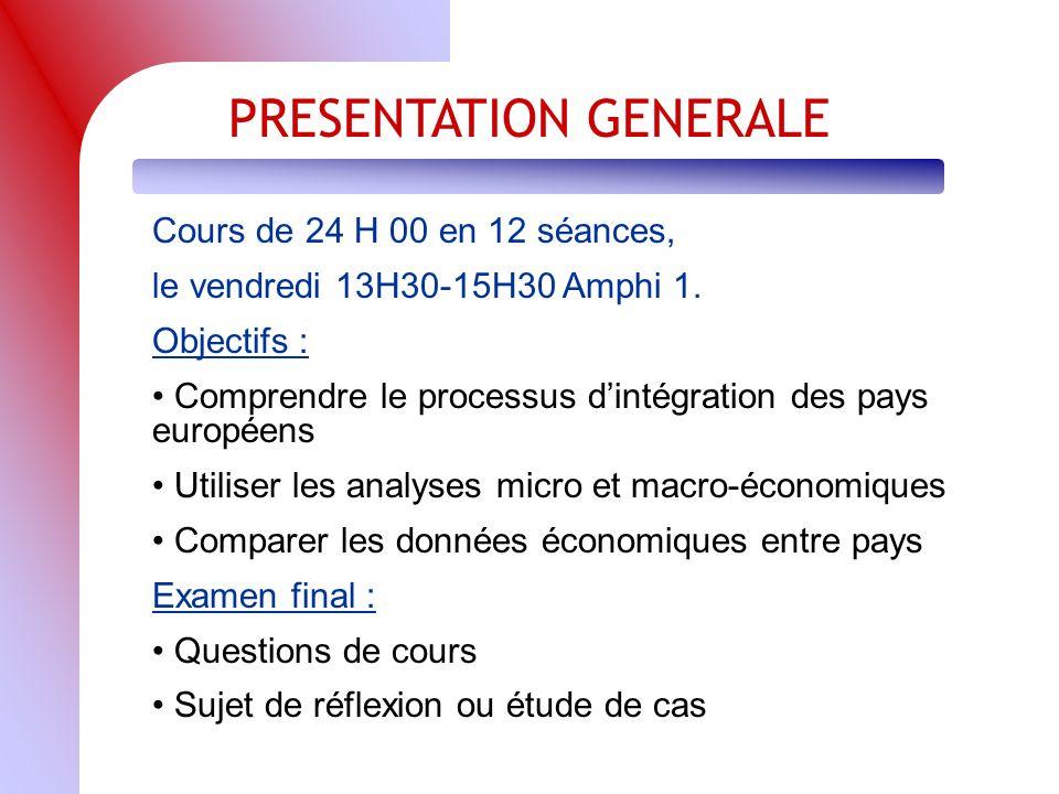PRESENTATION GENERALE Cours de 24 H 00 en 12 séances, le vendredi 13H30-15H30 Amphi 1.