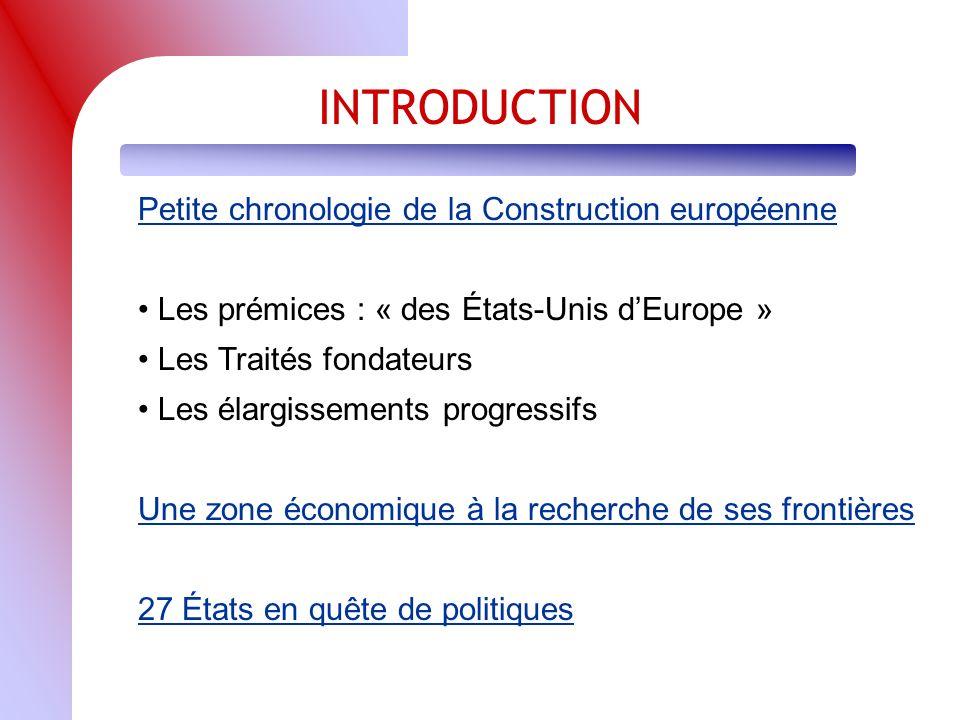 INTRODUCTION Petite chronologie de la Construction européenne Les prémices : « des États-Unis dEurope » Les Traités fondateurs Les élargissements progressifs Une zone économique à la recherche de ses frontières 27 États en quête de politiques