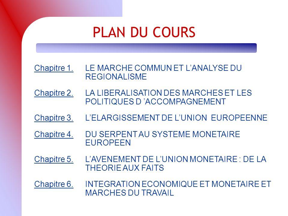 PLAN DU COURS Chapitre 1.LE MARCHE COMMUN ET LANALYSE DU REGIONALISME Chapitre 2.LA LIBERALISATION DES MARCHES ET LES POLITIQUES D ACCOMPAGNEMENT Chapitre 3.LELARGISSEMENT DE LUNION EUROPEENNE Chapitre 4.DU SERPENT AU SYSTEME MONETAIRE EUROPEEN Chapitre 5.LAVENEMENT DE LUNION MONETAIRE : DE LA THEORIE AUX FAITS Chapitre 6.INTEGRATION ECONOMIQUE ET MONETAIRE ET MARCHES DU TRAVAIL