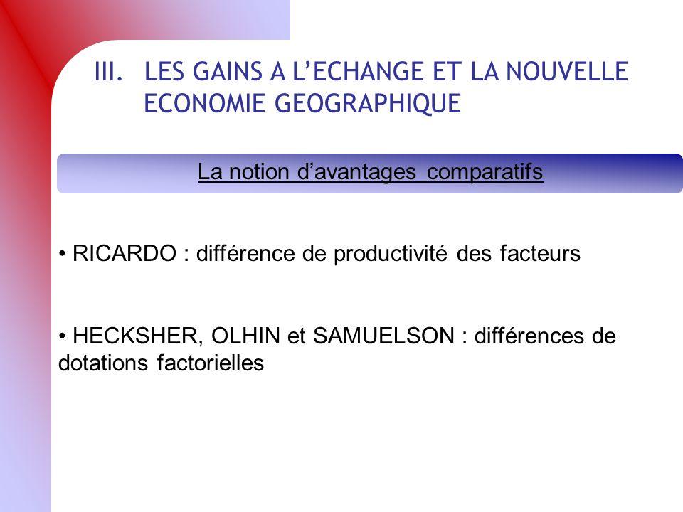 III. LES GAINS A LECHANGE ET LA NOUVELLE ECONOMIE GEOGRAPHIQUE La notion davantages comparatifs RICARDO : différence de productivité des facteurs HECK