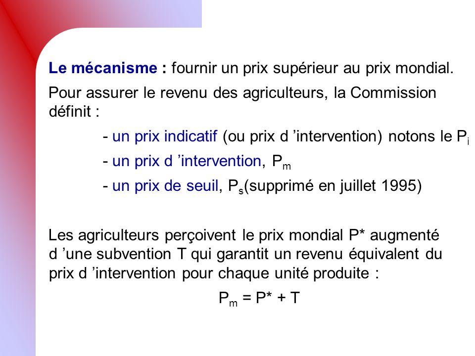 Le mécanisme : fournir un prix supérieur au prix mondial. Pour assurer le revenu des agriculteurs, la Commission définit : - un prix indicatif (ou pri