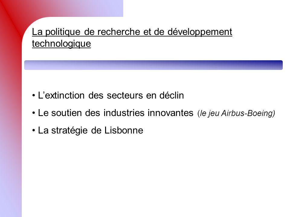 La politique de recherche et de développement technologique Lextinction des secteurs en déclin Le soutien des industries innovantes (le jeu Airbus-Boe